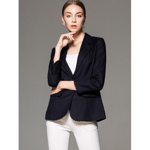 Fall Elegant Long Sleeve Buttoned Lapel Blazer