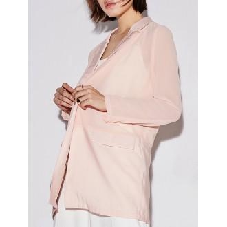 Lapel H-line Long Sleeve Polyester Blazer