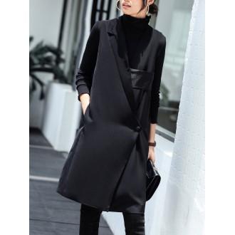 Black Paneled Pockets V Neck Vests And Gilets