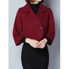 Winter Fall Casual Solid 3/4 Sleeve Shift Buttoned Blazer