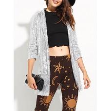 Sliver Shawl Collar Shimmer Pockets Sequins Blazer
