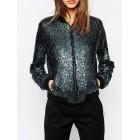 Blue Long Sleeve Crew Neck Sports Glitter-finished Jacket
