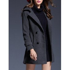 Wool Long Sleeve Casual Lapel Pea Coat