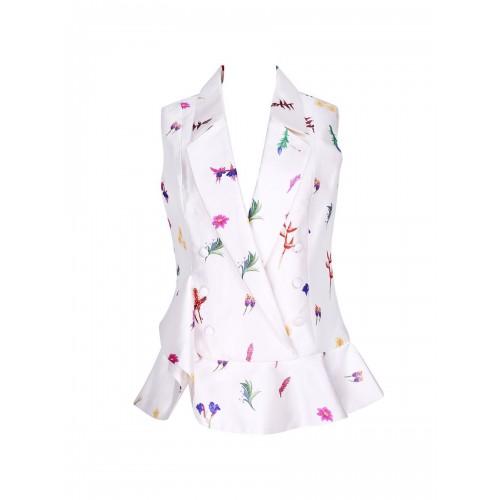 Cream Floral-print Elegant Shirt Collar Vests
