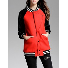 Red Paneled Buttoned Pockets Color-block Bomber Jacket