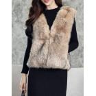 Sleeveless Elegant V Neck Faux Fur Vests And Gilet