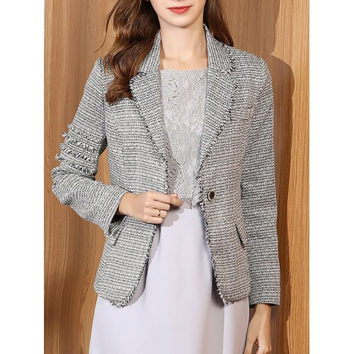 Fluffy Buttoned Gray Lapel Long Sleeve Buttoned Plaid Blazer