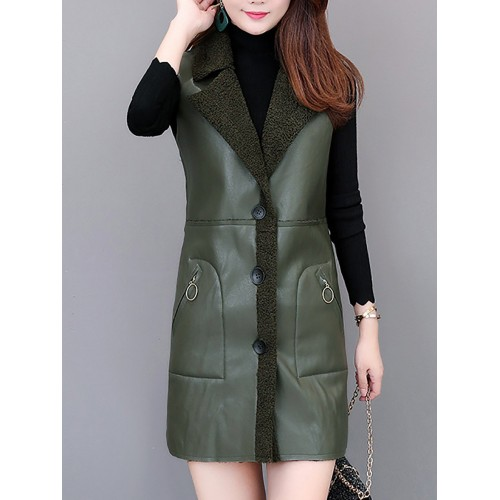 Work Lapel Pu Pockets Lapel Shift Buttoned Vests And Gilet
