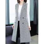 Gray Shift Lapel Work Pockets Vests And Gilets