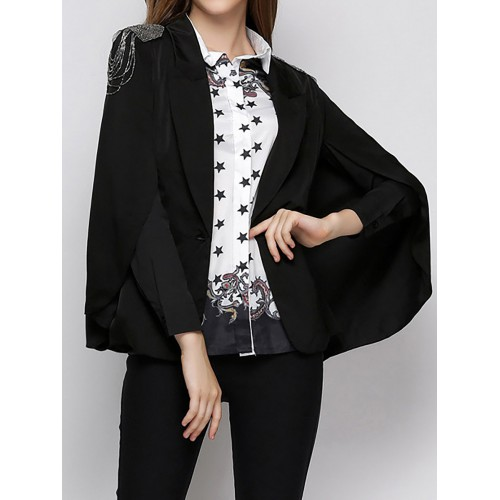 Cape Sleeve Beaded Buttoned Work Solid Lapel Blazer