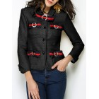 Pockets Elegant Beaded  Bow Solid Buttoned Shirt Collar Black  Blazer
