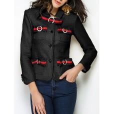 Pockets Elegant Beaded  Bow Solid Buttoned Shirt Collar Black  Blazer