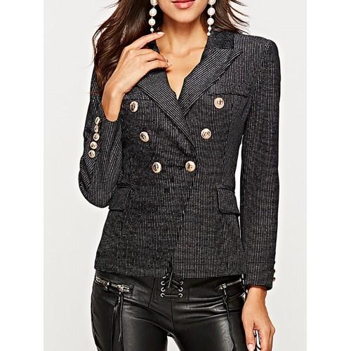 Work Striped Sheath Buttoned Black Pockets Lapel Elegant Blazers