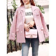 Pink Checkered/plaid Long Sleeve Pockets Blazers