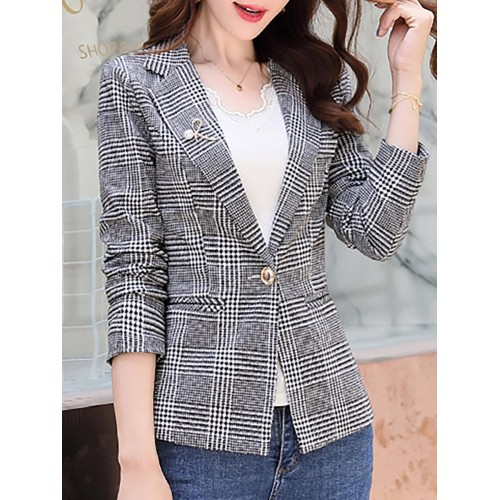 Work Lapel Checkered/plaid Buttoned  Blazers