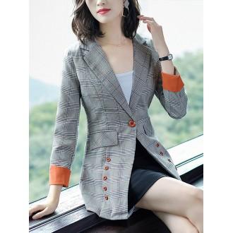 Work Lapel Checkered/plaid Long Sleeve Blazers