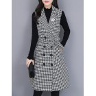 Black Houndstooth Sleeveless Buttoned Vests And Gilets