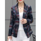 Black Lapel Work Checkered/plaid Paneled Blazers