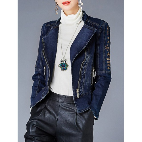 Casual Embroidered Lapel Cropped Jacket