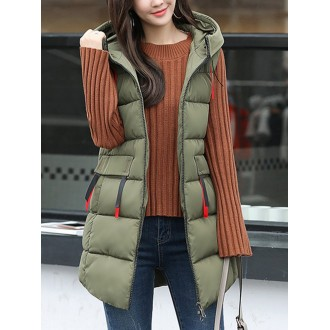 Plus Size Paneled Hoodie Casual Sleeveless A-line Vests And Gilet