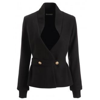 Black Shift Work Long Sleeve Buttoned Blazers