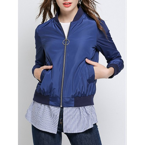 Blue Embroidered Stand Collar Bomber Jacket