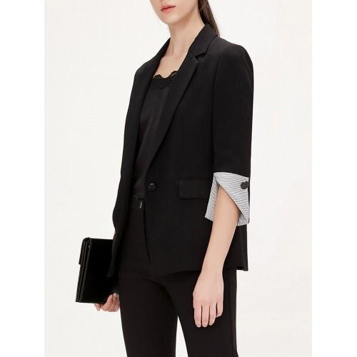 Black Work Lapel Paneled Pockets Buttoned 3/4 Sleeve Blazer