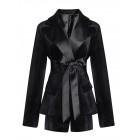 Buttoned Lapel Black Tiered Long Sleeve Blazer