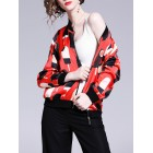 Red Sports & Outdoor Graphic Casual Shift Bomber Jacket