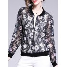 Shift Long Sleeve Lace Geometric Casual Bomber Jacket