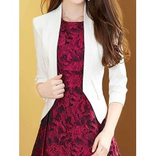 Buttoned,Spring Crew Neck 3/4 Sleeve Solid Buttoned Blazer