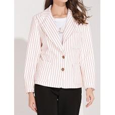 White Lapel Buttoned Striped Color-Block Blazers