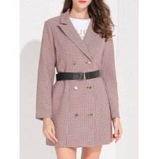 Pink Long Sleeve Lapel Houndstooth Buttoned Blazer