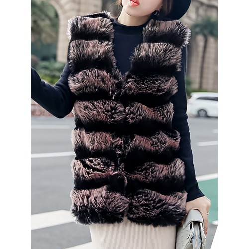 Color-Block Fluffy Crew Neck Vests And Gilets