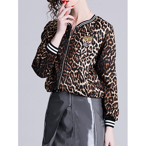 Brown Shift Patch Zipper Leopard Print Bomber Jacket