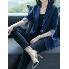 Blue Paneled Striped 3/4 Sleeve Work Blazer