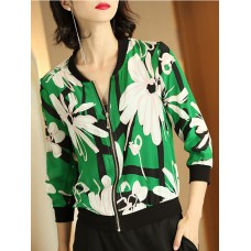 Green Floral Paneled Casual Bomber Jacket