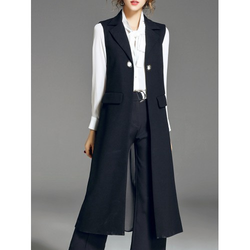 Pleated Sleeveless Lapel Casual Vest and Gilet