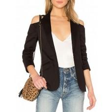 Sexy Black Pockets Statement Buttoned Blazer