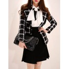 Black Work Gingham Color-Block Paneled Blazers