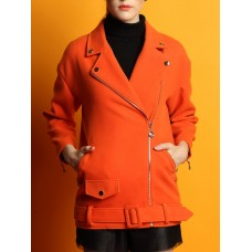 Orange Pockets Lapel Solid Casual Coat