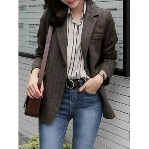 Coffee Lapel Striped Pockets Buttoned Blazers