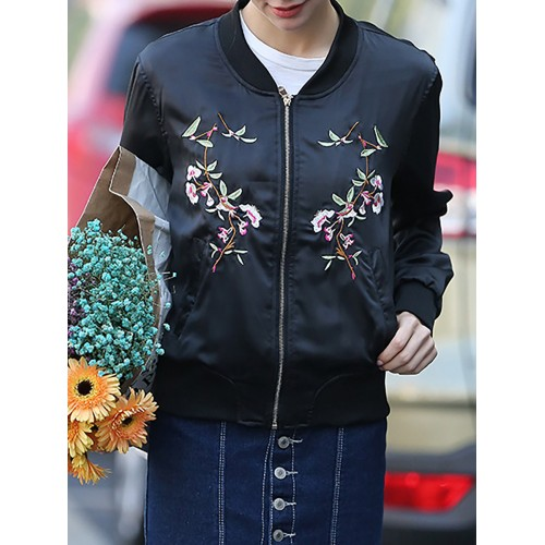 Black Casual Long Sleeve Floral Zipper Bomber Jacket