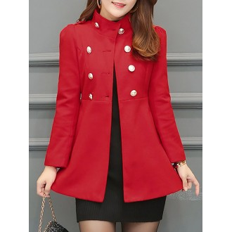 Casual Long Sleeve Pockets Buttoned Jacket