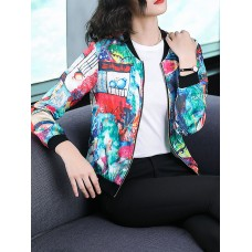 Multicolor Crew Neck Abstract Printed Bomber Jacket