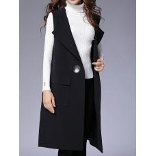 Black Shawl Collar Shift Casual Vests and Gilet