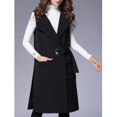 Black Sleeveless Pockets Solid Vests and Gilet