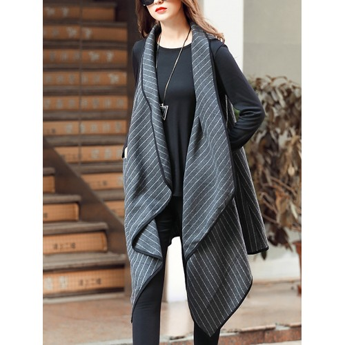Pockets Casual Asymmetrical Striped Sleeveless Vests and Gilet