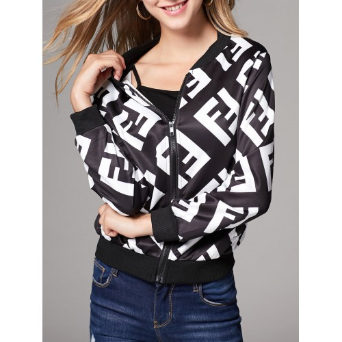 Black Casual Shift Graphic Bomber Jacket