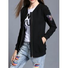 Black V Neck Long Sleeve Animal Bomber Jacket